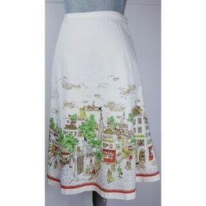 J CREW Rare Parisian Cityscape Print Cotton Skirt